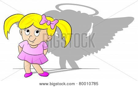 Girl With Her Angel Shadow