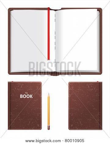 Open and closed book over white background