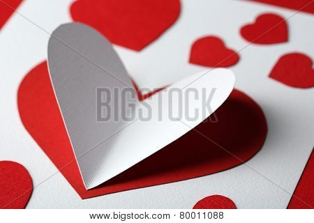 Beautiful hand made post card  with paper hearts, close-up