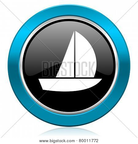 yacht glossy icon sail sign