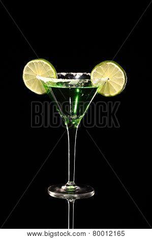 Green Margareta Fresh Coctail Isolated On Black