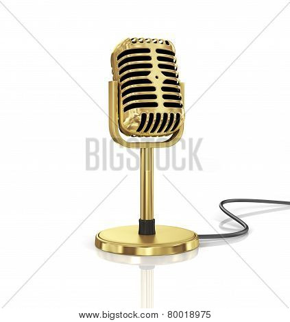 Gold Microphone Isolated On The White Background. Speaker Concept.