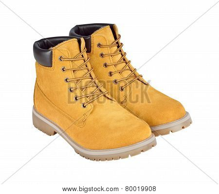 Yellow Leather Boots Isolated On White Background With Clipping Path