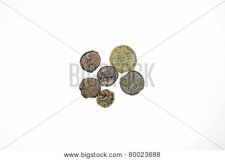 Six Old Copper Coins Of Judea On A White Background