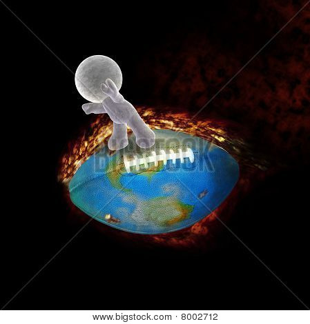 abstract cartoon of a soft toy man flying on a burning football - Illustration on black background