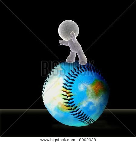 A soft toy rolling the world of baseball forward into the future - Illustration on black background