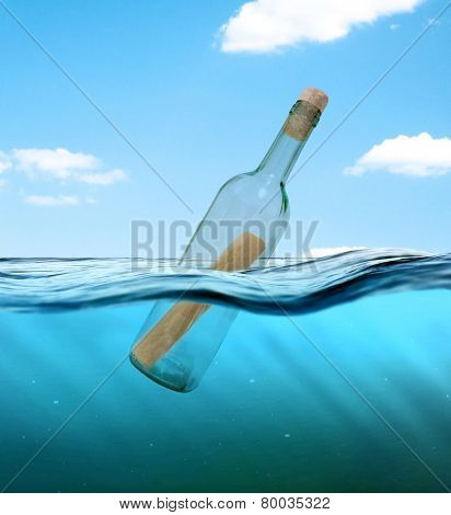Bottle with a letter from the wreck. A bottle with a note floating in the ocean. poster