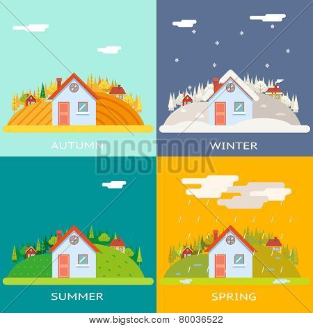 Seasons Change Autumn Winter Summer Spring Village Hills Field Landscape Icon Website Greeting Card