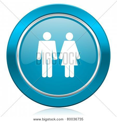 couple blue icon people sign team symbol