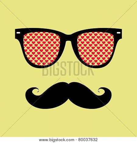 Mustache And Sunglasses With Reflection Of Heart.eps