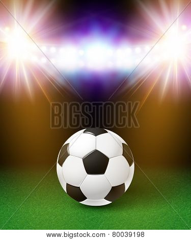 Abstract soccer football poster. Stadium background with bright
