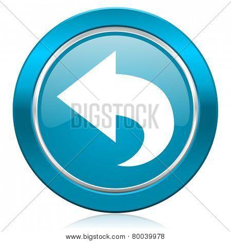 back blue icon arrow sign