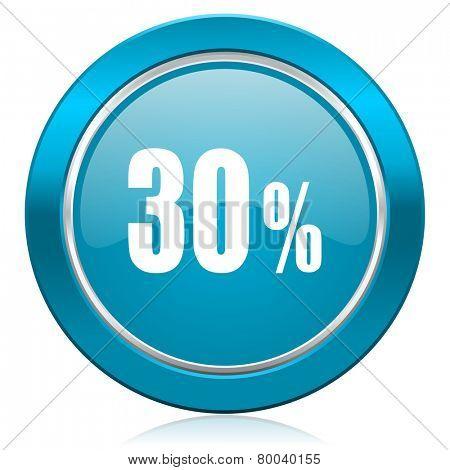 30 percent blue icon sale sign
