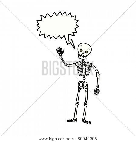cartoon waving skeleton with speech bubble