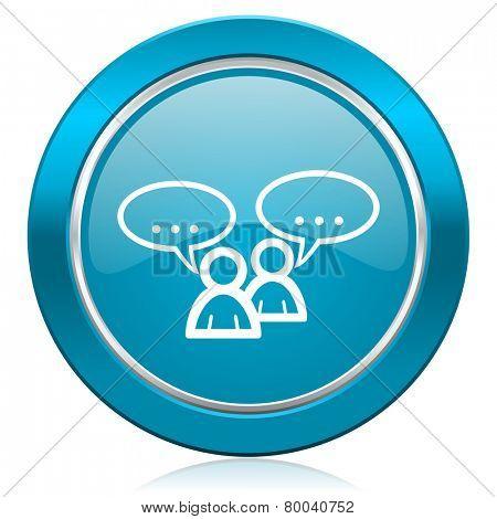 forum blue icon chat symbol bubble sign
