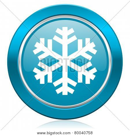 snow blue icon air conditioning sign