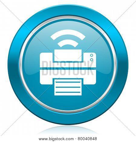 printer blue icon wireless print sign