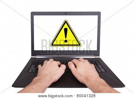 Man Working On Laptop, Danger