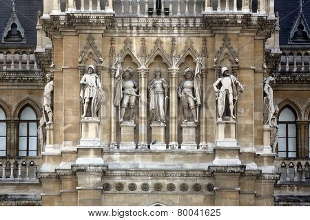 VIENNA, AUSTRIA - OCTOBER 10: Fragment of famous City Hall building (Rathaus) in Vienna. Vienna Old Town is a UNESCO World Heritage Site. Vienna, Austria on October 10, 2014.