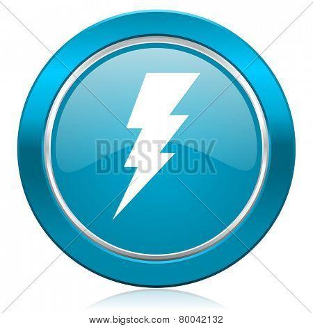 bolt blue icon flash sign