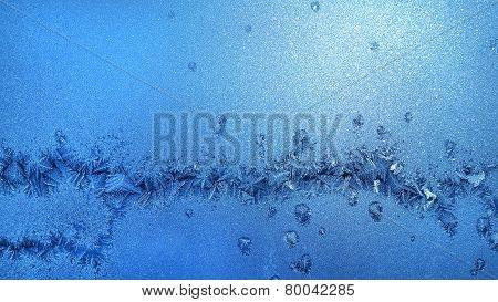 Ice Pattern On Winter Glass
