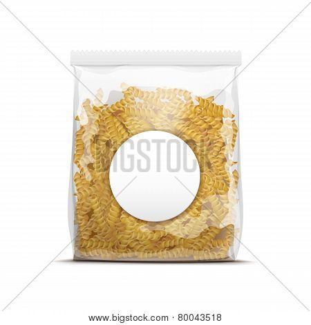 Fusilli Spiral Pasta Packaging Template Isolated