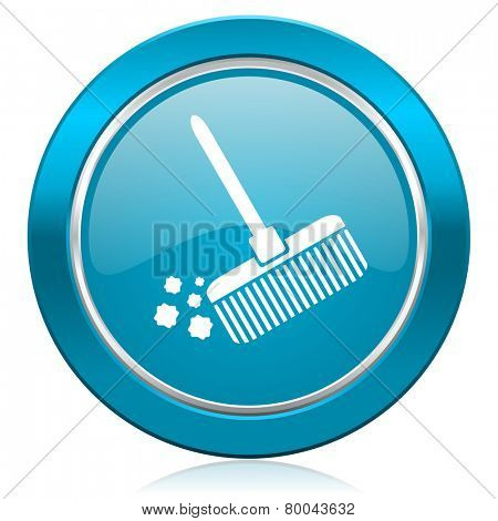 broom blue icon clean sign