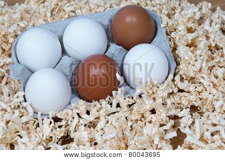 White And Brown  Eggs In The Box