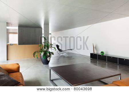 Modern living room, interior house, concrete walls