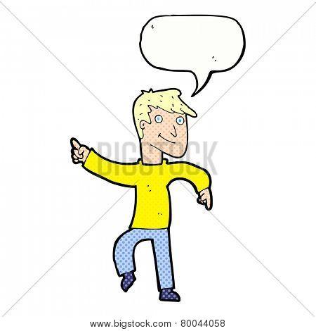 cartoon happy man pointing with speech bubble