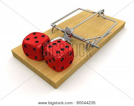 Mousetrap and Dice (clipping path included)