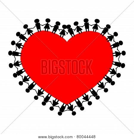 People around the heart holding hands.