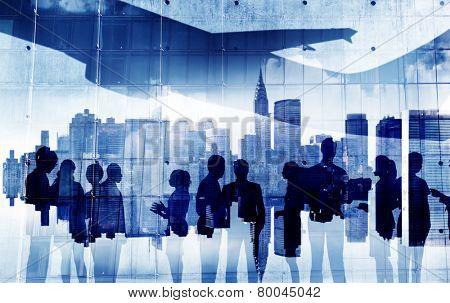 Business Aircraft Cityscape Architecture Building Business Metropolis Concept