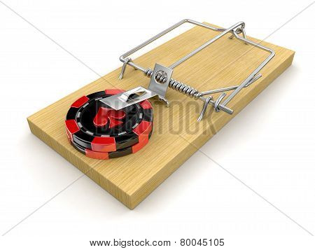Mousetrap and Casino chip (clipping path included)