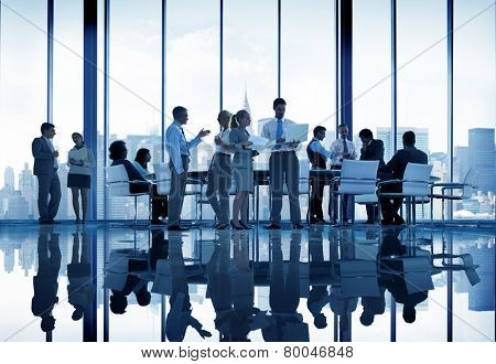 Business People Discussion Meeting Cityscape Team Concept