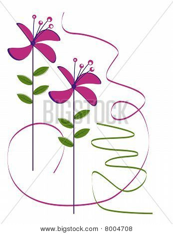 The pink flowers on a white background