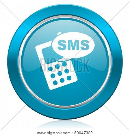 sms blue icon phone sign