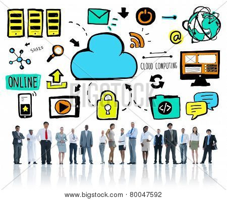 Ethnicity Business People Cloud Computing Team Concept