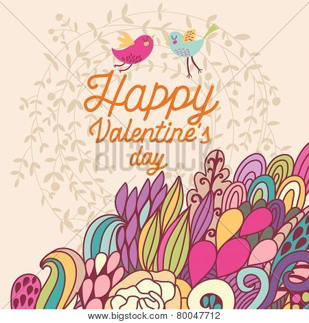 Happy Valentines day concept card in bright colors. Stylish vector background with vintage birds and colorful burst