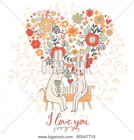 Cute wedding card with rabbits in love. Vector romantic invitation. Valentines day cartoon background