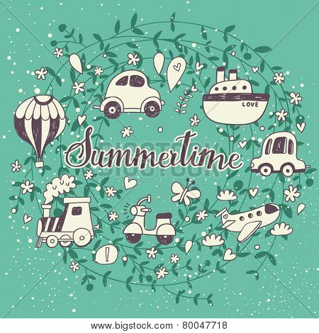Awesome Summertime concept card with a lot of travel elements. Ideal for holiday designs