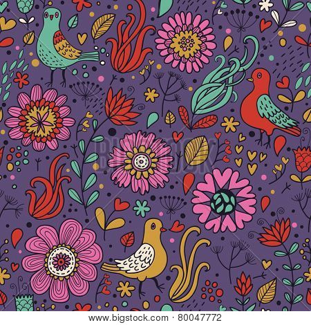Awesome pigeons in vintage flowers. Seamless pattern can be used for wallpapers, pattern fills, web page backgrounds,surface textures. Gorgeous seamless floral background in dark colors