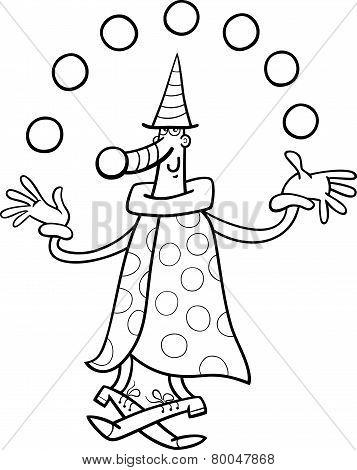 Circus Clown Juggler Coloring Page