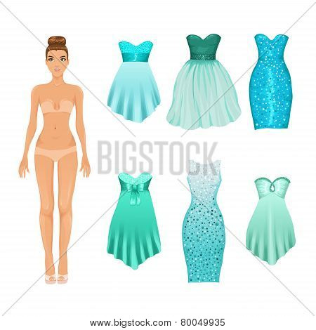 Vector turquoise evening dresses
