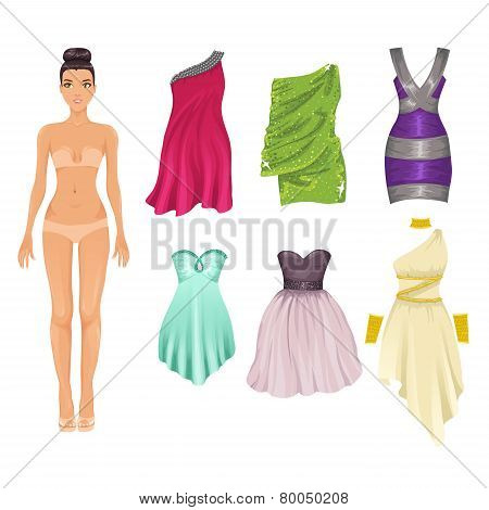 Vector Dress Up Paper Doll With An Assortment Of Cocktail Dresses