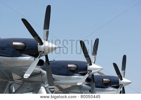 Propeller plane, three turboprop engines