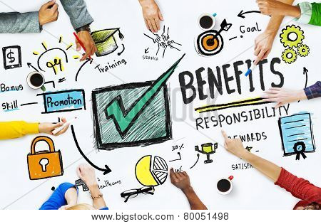 Benefits Gain Profit Earning Income People Meeting Concept poster