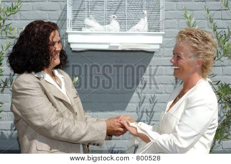 Happy lesbian couple.