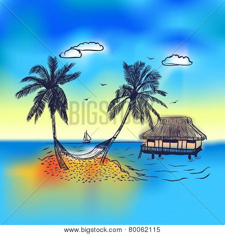 Paradise island with bungalow palm tree