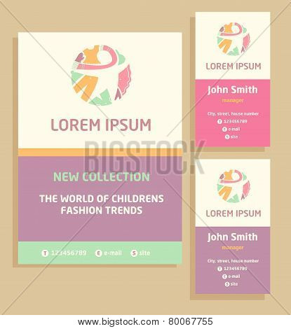 Vector logo, flyer and business card for a children's clothing store. Template advertising for child